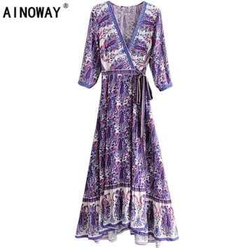 2018 vestidos Boho dress vintage Floral print sashes beach Bohemian dresses women maxi dress Ladies cross V neck Summer dress