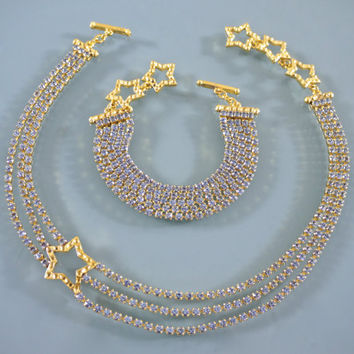 Vintage Yves Saint Laurent Star Rhinestones Necklace