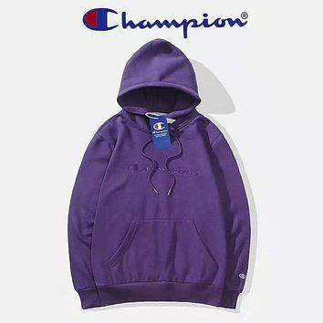 Champion Autumn And Winter New Fashion Bust Embroidery Letter Women Men Keep Warm High Quality Hooded Long Sleeve Sweater Top Dark Purple