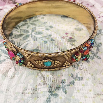 Vintage Jeweled Bracelet, Bangle, Vintage Jewelry, Boho Chic (See Note In Description)