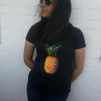 Pineapple TShirt, Pineapple Top - Gorgeous Pineapple Print on black t-shirt. Only 1 ready to ship!