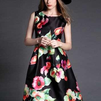 Black and Red Floral Print Sleeveless Skater Midi Dress