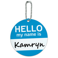 Kamryn Hello My Name Is Round ID Card Luggage Tag