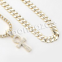 """Iced Out Micro Pave Ankh Cross Pendant w/ 18"""" Tennis / 30"""" Cuban Chain"""