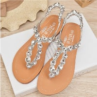 Trendy Womens Rhinestone Thongs Beach Sandals