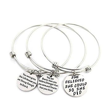 AUGUAU 3 Sets Silver Plated Stainless Steel Metal Engraved Motivational Round Charm Pendant Adjustable Bracelets