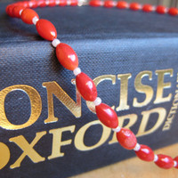 Coral Choker, Red and White Necklace