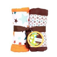 Baby Boy Burp Cloths Set of 2-Orange & Brown Stars