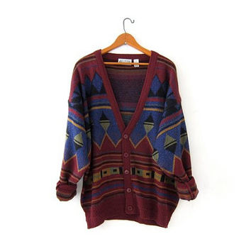 Vintage tribal navajo sweater. Oversized cardigan sweater. Boho sweater. Southwestern Geometric Sweater.