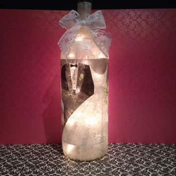 Wedding themed wine bottle lamp, Bride and Groom lamp, Wedding gift, accent lamp, Bridal shower gift