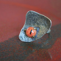 Sale - Lord of the Rings Mordor Sauron Orange Cat Lizard Slit Eye Steampunk Oxidized Silver Ring Unique Prong Set Statement Jewelry
