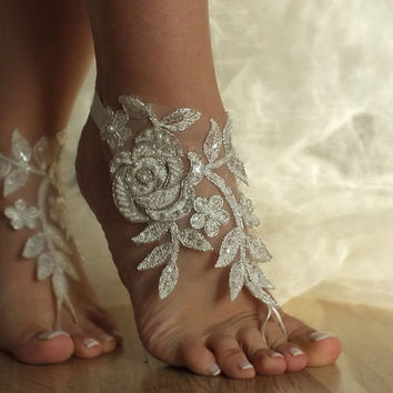 ivory Beach wedding barefoot sandals lace sandals,