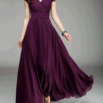 Women's Fashion Bohemian Maxi Dress Evening Dress V-neck = 1928830596