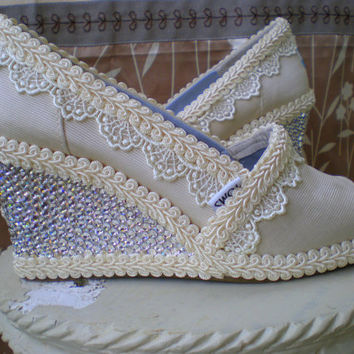 Custom Wedding TOMS -- Swarovski  Wedge design