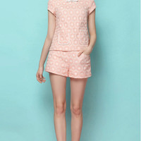 Printed Patched Pocket Short Sleeve Top with Shorts Set