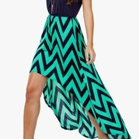 Mint & Navy Chevron Hi/lo Dress