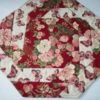 Quilted Table Topper Set - Octagon Shape - Reversible - Burgundy and Pinks Floral Print - Butterflies - Three Piece Set