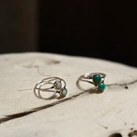 Opal V Stacking Set//  Two hand made sterling silver stacking rings. Each feature a round luster opal stone set in sterling silver.