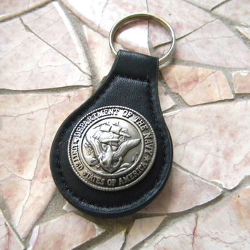 Navy Keychain, US Navy Black Leather Key Fob, Key Ring, Black Leather Key Chain, Military Navy Gift, Navy Mom Wife Girlfriend Dad Key Chain
