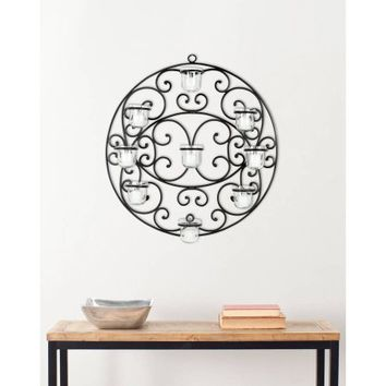 Safavieh Round Tea Light Wall Decor, Black Powder - Walmart.com