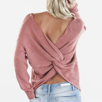 Break The Ice Mauve Twist Back Sweater