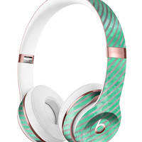 Green and Silver Watercolor Diagonal Stripes Full-Body Skin Kit for the Beats by Dre Solo 3 Wireless Headphones