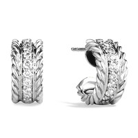 Cable Classics Extra-Small Earrings with Diamonds - David Yurman