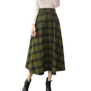 DCCKGQ8 Plaid Skirt Women Long A-Line Skirt British Style Woolen Plaid Skirt Winter Vintage Wool Elasticity High Waist OL Pleated Skirts