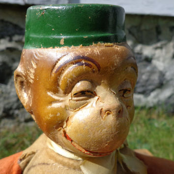 Monko The Monkey Doll Toy - Composition Head Stuffed Cloth Body Doll - Loads of Fun! Jay Rue Novelty, NY - 1930s