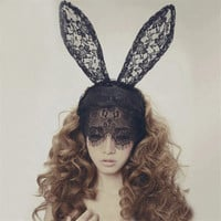 Acessorio Para Cabelo Fascinator Women Girl Hair Band Lace Sexy Rabbit Bunny Ears Veil Party Headwear Hair Accessories