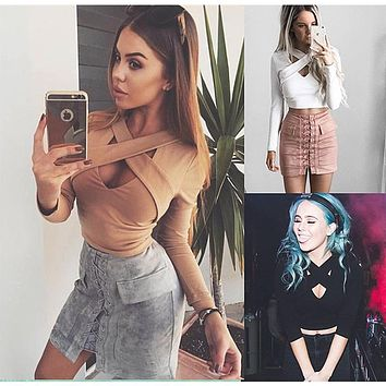 2017 Women Tops Series Autumn Winter New Sexy Long Sleeve Slim Fit Tee Tops Casual T-shirt For Women A16221