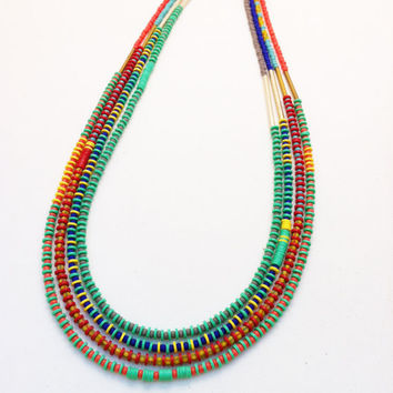 Minimal Tribal Long Layering Necklace, UNISEX, Single Strand of Grey Seed Beads and Neon Mint African Disks, Everyday, Color Block, Neutral