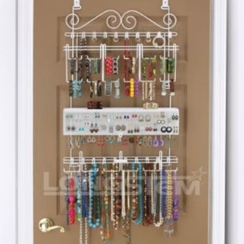 Overdoor/Wall Jewelry Organizer in White By Longstem - Unique patented product - Rated Best:Amazon:Home & Kitchen