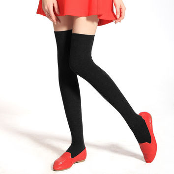 Woman Wool Warm Thicker Stockings Knee Sock High Tube Socks Winter Stockings