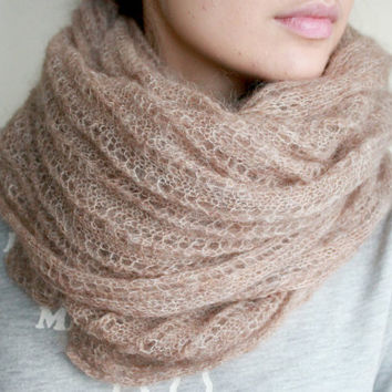 Scarf Knit Long Beige cowl / Handmade Scarf / Long Mohair yarn scarf / Knitting Scarf / Winter Scarf /  Women Scarf