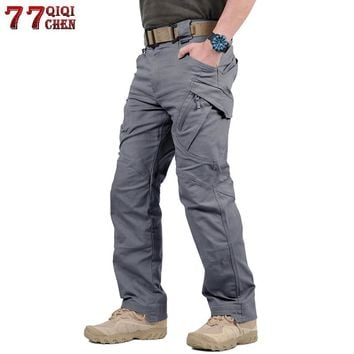 Tactical Pants Army Military Style Cargo Pants Men IX7 IX9 Combat Trousers Casual Work Trousers SWAT Thin Pocket Baggy Pants