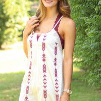 Ivory With Burgundy Arrows And Lace Detail Strappy Dress
