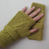 green,Knitted gloves, hand knitted, knitted, gloves,extra large  size,Promotion!  Season Discount! Coupon code: NOELSALE