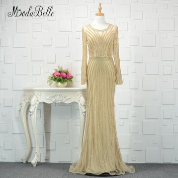 modabelle Dubai Gold Long Sleeve Evening Dress Luxury 2018 Sparkly Mermaid Beading Tulle Prom Dress For Party Robe De Soiree