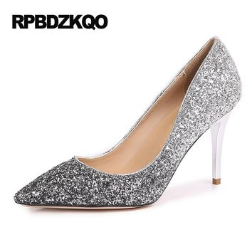 Evening Dress Slip On Silver Glitter Shoes Gold Sexy Pointed Toe High Heels Women Pumps 3 Inches 2017 Small Plus Size 33 34 41 4