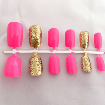 Pink Fake Nail Set, Gold False Fingernails, Glitter Acrylic Nail, Artificial Nails, Press On Nails, Glue On Nails, Gifts For Her