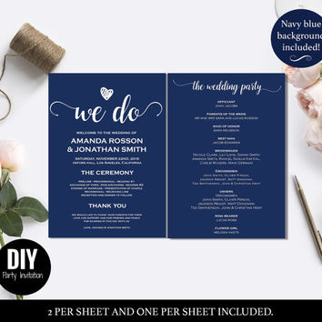 Navy Wedding Programs - Wedding program templates pdf instant download - Navy blue menu-  Downloadable wedding program templates #DPI1288