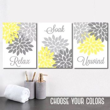 Yellow Gray Bathroom Decor, BATHROOM Wall Art, CANVAS or Prints, Bathroom Decor, Yellow Gray Flower Set of 3 Relax Soak Unwind, Wall Decor