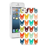Apple iPhone 5 5S Hard Back Case Cover Colorful Boston Terrier Dog Faces Pattern (White)