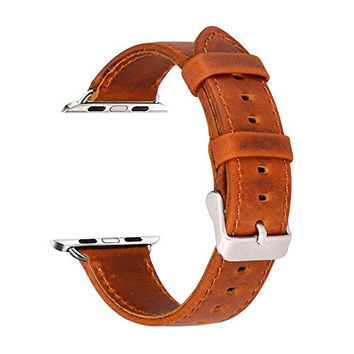 Apple Watch Band Luxury Genuine Leather Strap Replacement Real Leather Band for Apple Watch (42mm Brown)