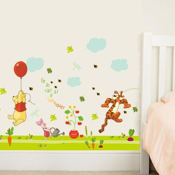 Winnie The Pooh Tigger Pig Kids Baby Nursery Wall Stickers Murla DIY Decorative Home Decor Decal Waist Line Decorations
