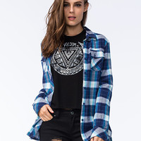Volcom Crave You Womens Flannel Shirt Navy  In Sizes