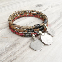 Silk Road Bangle Stack, 3 Piece Set, Tribal Gypsy Coins, Silk Wrapped, Taupe, Olive, Rust