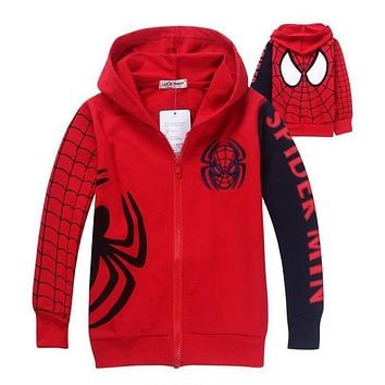 Trendy New Boys Spiderman Coat Kids Cotton Spring Jacket Chirdren Character Lovely Hoodies Outerwear Spider-man Boys Clothes AT_94_13