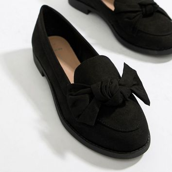 New Look Wide Fit Bow Loafer at asos.com